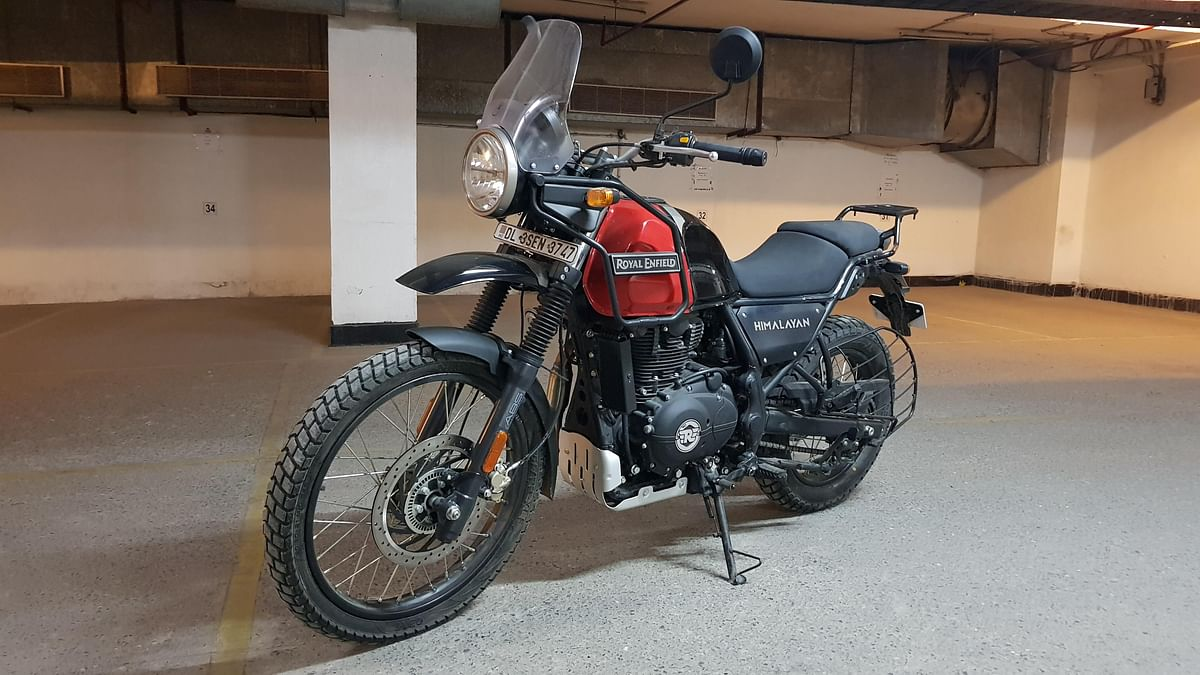 "The Royal Enfield Himalayan in BS-VI guise comes in dual-tone colours. This one is ""rock red""."