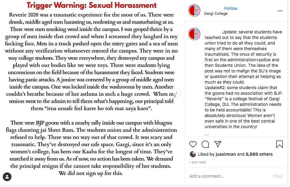 A screenshot on Instagram of one of the students sharing their ordeal.