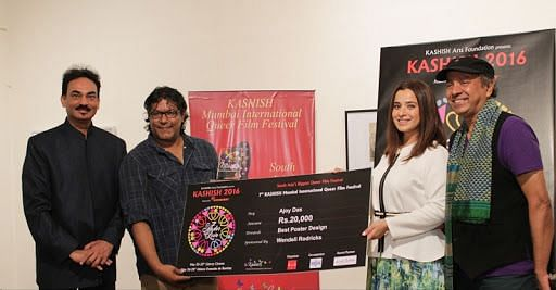 Wendell Rodricks with Sridhar Rangayan (extreme right) at the Kashish Mumbai International Queer Film Festival.