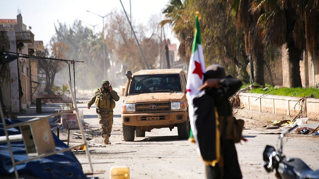 Turkish backed Syrian rebels enter the own of Saraqeb, in Idlib province, Syria, Thursday, 27 February.