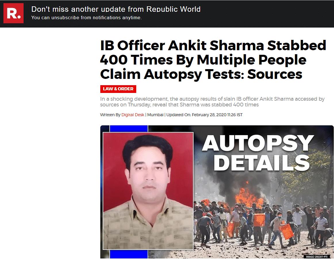 Ankit Sharma Stabbed 12 Times, Not 400 – Post-Mortem Debunks Claim