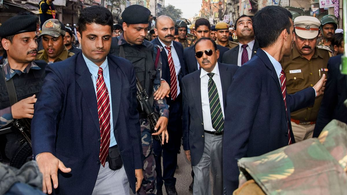 Ajit Doval visiting the violence-hit areas of northeast Delhi.