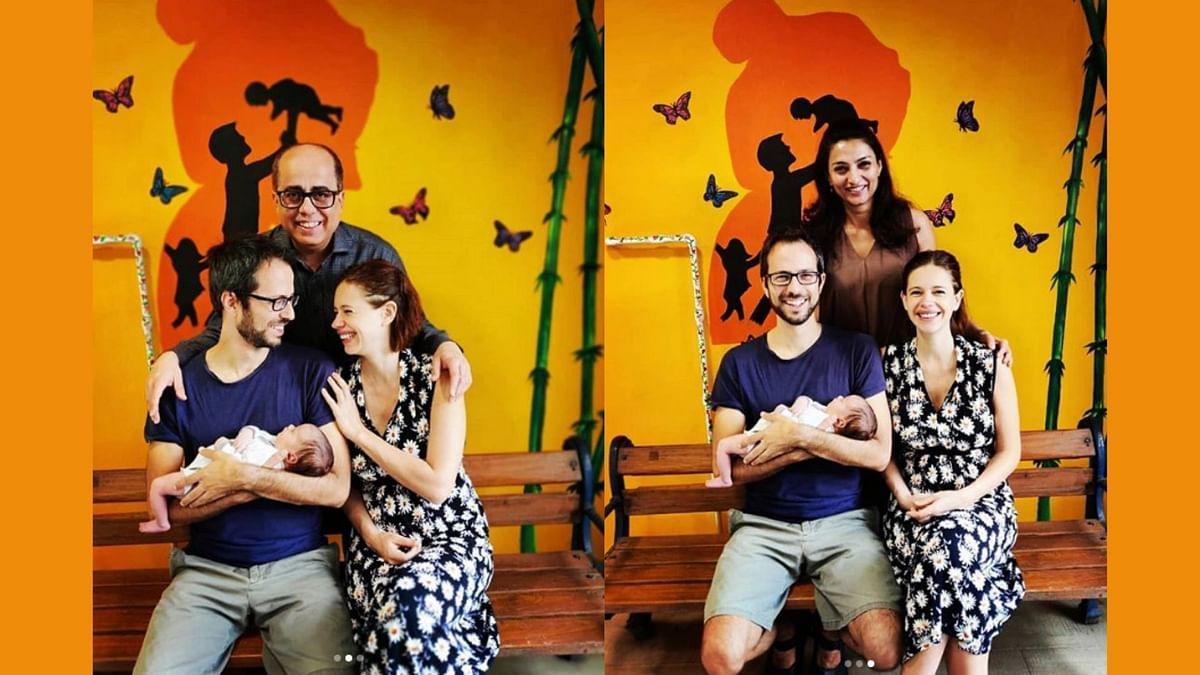 Kalki Koechlin and partner Guy Hershberg with their baby girl.