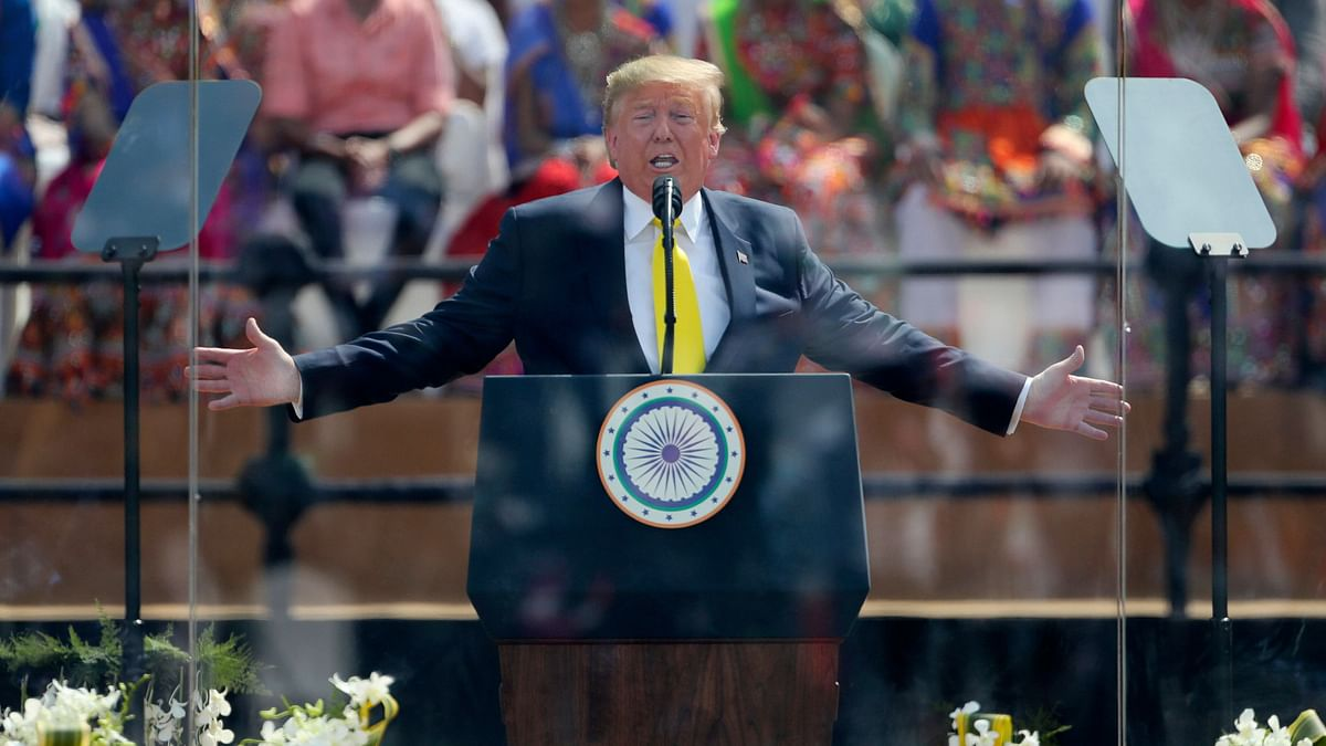 US President Donald Trump speaks at Sardar Patel Stadium in Ahmedabad.