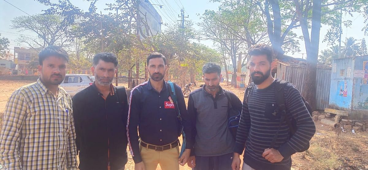 Family members of the three Kashmiri students, who were arrested on sedition charges over a viral video, in Hubballi on Tuesday, 18 February.