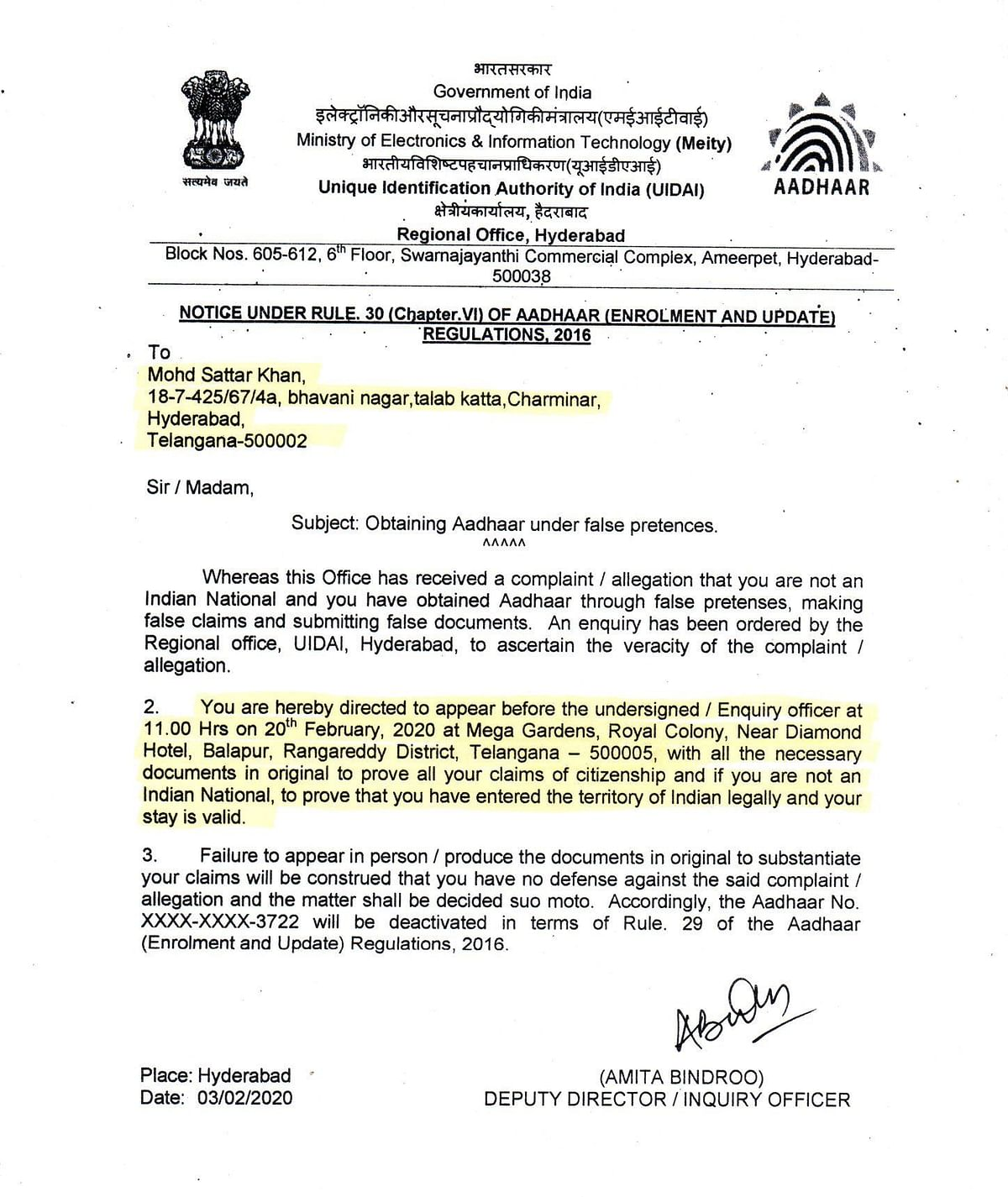 A letter issued by the UIDAI on 3 February directing Mohd Sattar Khan to produce documents to prove his citizenship.