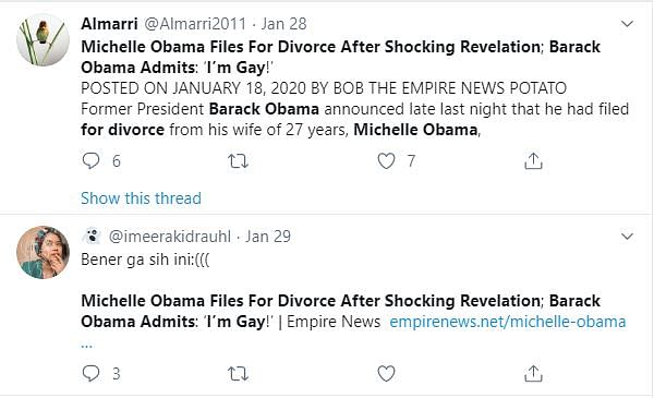 No, Barack & Michelle Obama Aren't Divorcing; Article is a Parody