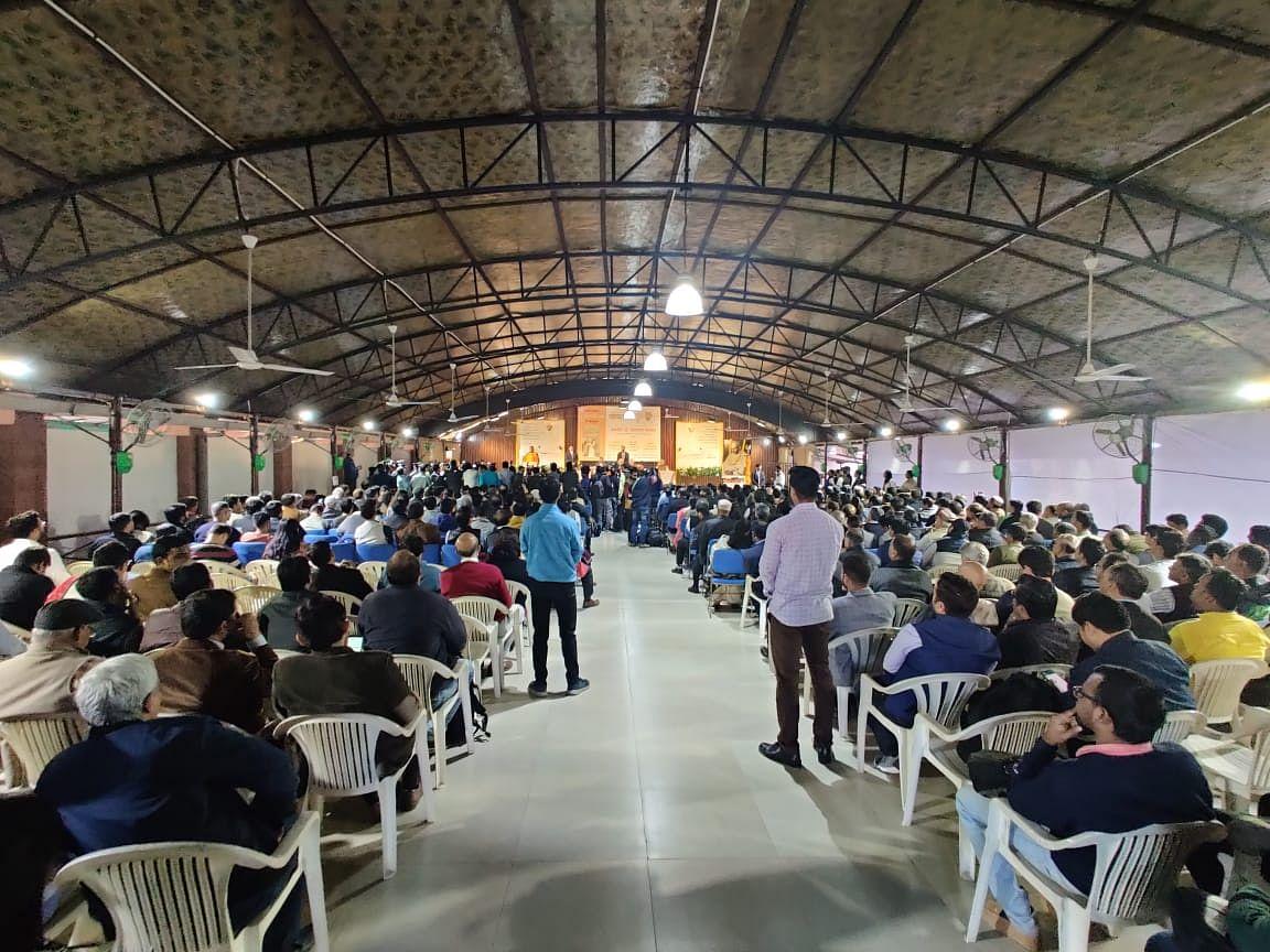 The crowd, eager to hear Mohan Bhagwat speak, gathered at Gandhi Smriti.