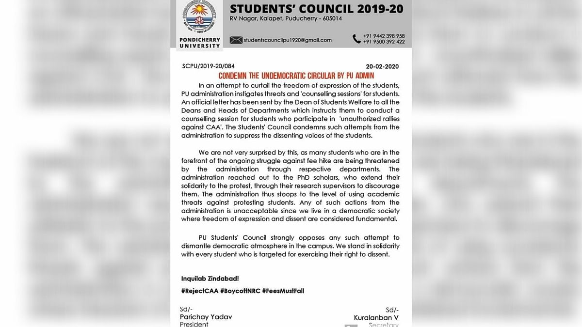 The student council released a statement condemning 'the undemocratic circular.'