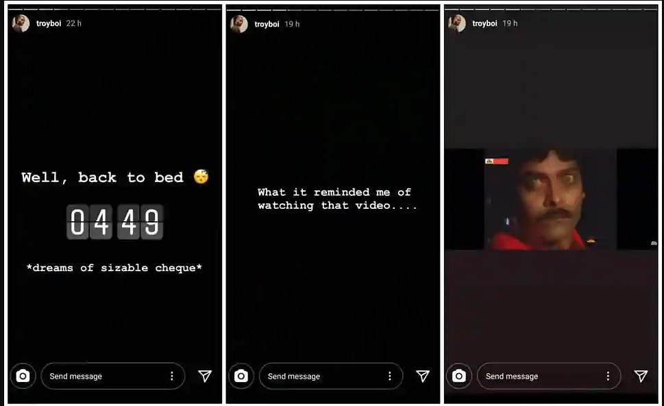 The aforementioned  Instagram stories uploaded by TroyBoi