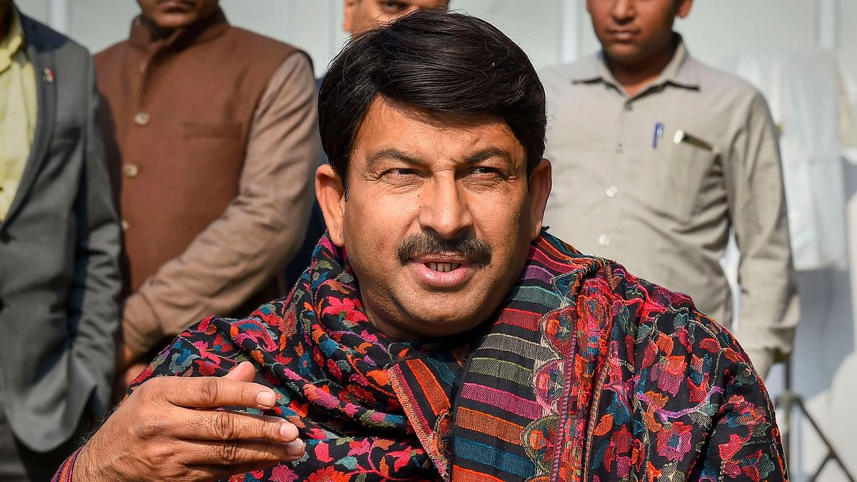 Delhi BJP Chief Manoj Tiwari speaks to the media at his residence as counting of votes for Delhi Assembly election begins.