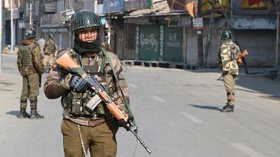 Srinagar: Security beefed up in Srinagar on the death anniversary of Parliament attack convict Afzal Guru on Feb 9, 2018.