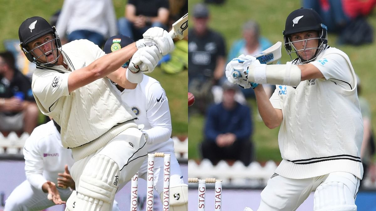 Kyle Jamieson (left) and Trent Boult in action against India on Day 3 of the Wellington Test.