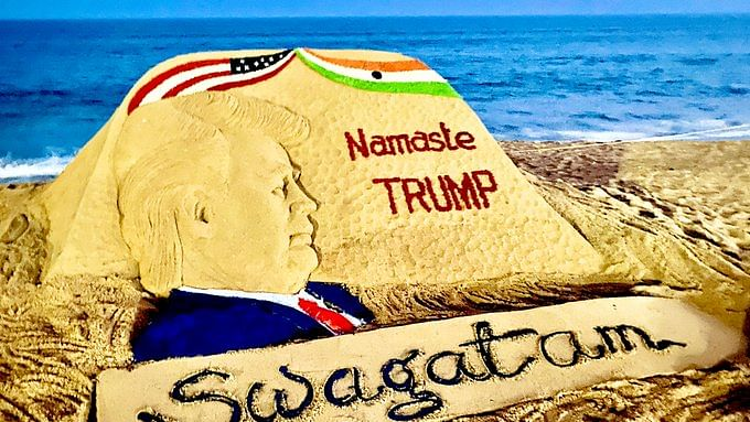 An art installation created by Padma Shri Awardee Sudarsan Pattnaik depicting US President Donald Trump.