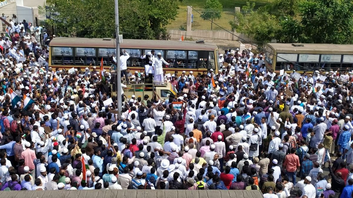 File photo of protests in Chennai when  20,000 people marched along the Walajah road on Wednesday, near the Secretariat, demanding that the Tamil Nadu Assembly pass a resolution against the Citizenship Amendment Act (CAA) and National Register of Citizens (NRC).