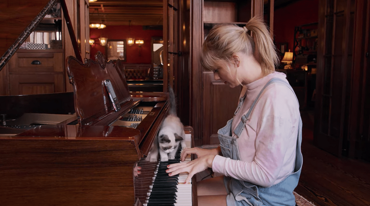 Taylor playing the piano, with her cat by her side.