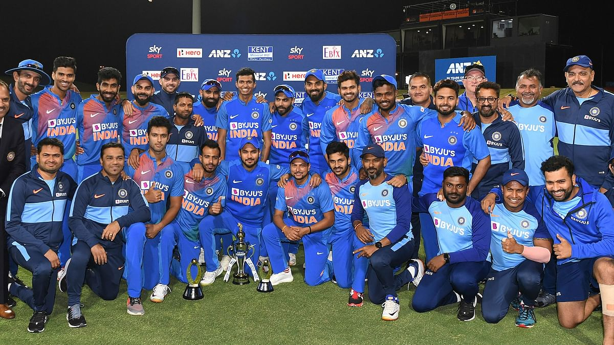 The Indian cricket team stand for a picture after completing a 5-0 T20 series sweep of New Zealand.