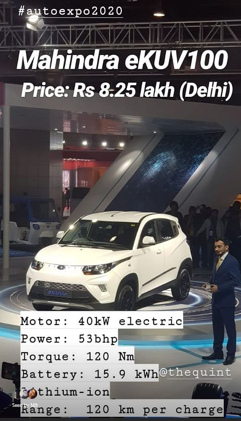 The Mahindra eKUV100 has a 40kW electric motor.