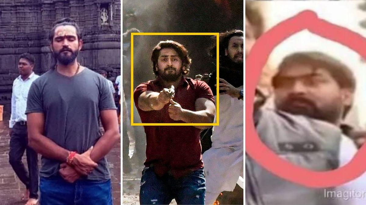 Left: Anurag Mishra. Middle: 'Shahrukh'. Right: Man seen in Kapil Mishra's video.