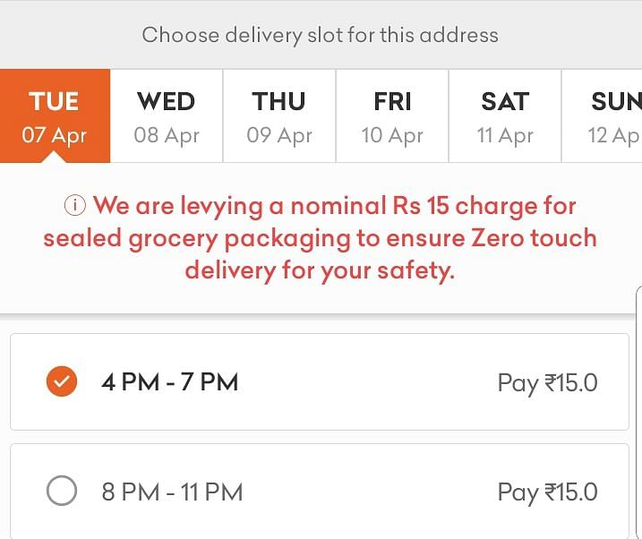 Grofers was showing 7 April as the earliest date of delivery for items ordered on 26 March.