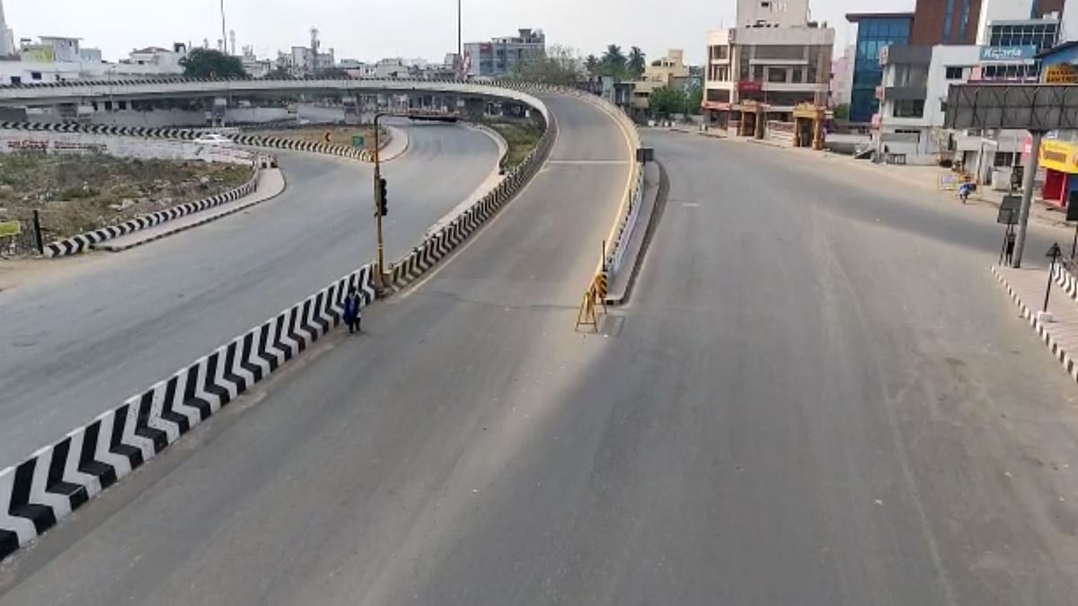 The streets in Chennai wear a deserted look due to the lockdown.