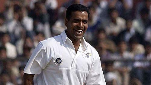 Sunil Joshi celebrates a Test wicket.