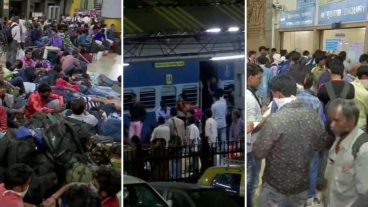 Migrant Workers Rush to Leave Mumbai by Train Amid COVID-19 Scare