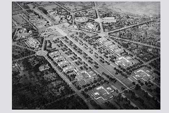 A drawing of the aerial perspective of the proposal for the new capital of Delhi.