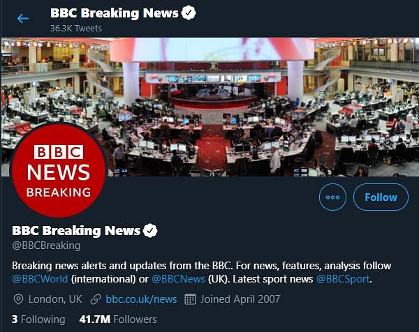 Screenshot of the official Twitter handle of BBC News