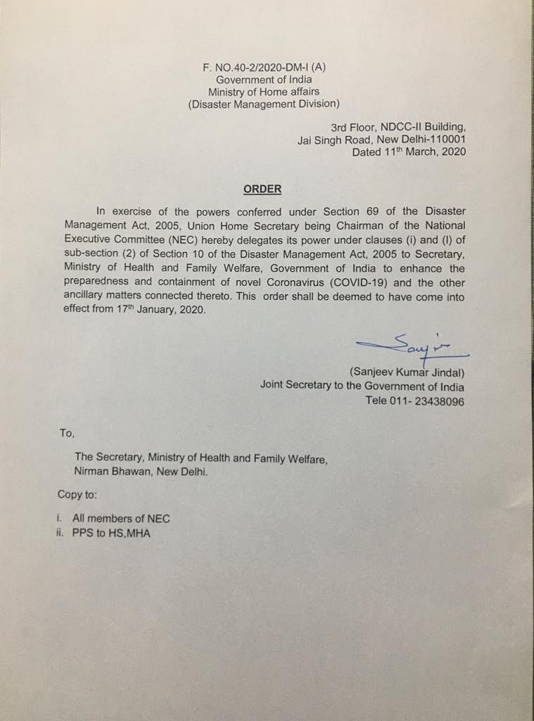 Power of National Executive committee under clauses (i) and (l) of sub section (2) of the section 10 of the disaster management act 2005 dedicated to Secretary of Ministry of Health.
