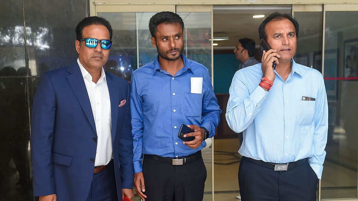 Former India cricketers Sunil Joshi, Harvinder Singh and Rajesh Chauhan arrive for the interview of National selector of Indian cricket team.