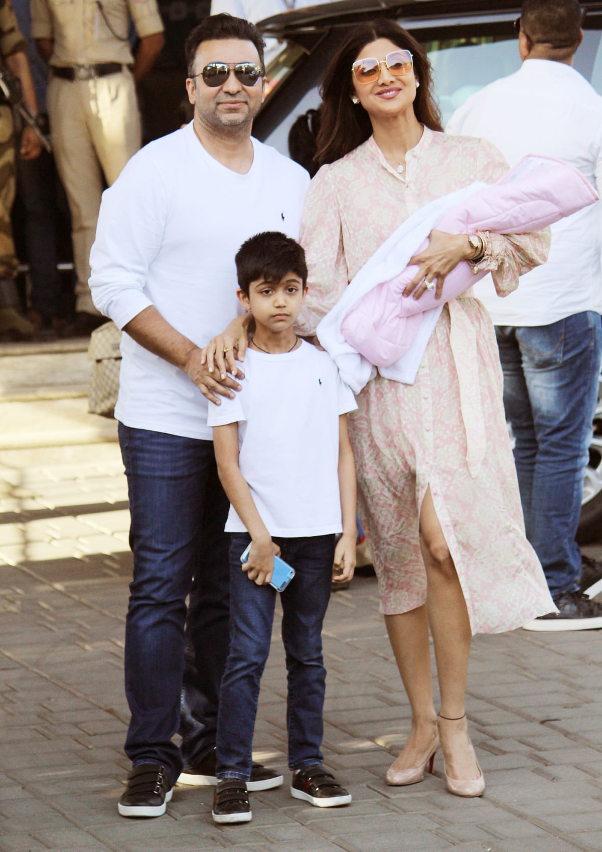 Shilpa Shetty and Raj Kundra with their children Viaan and Samisha.