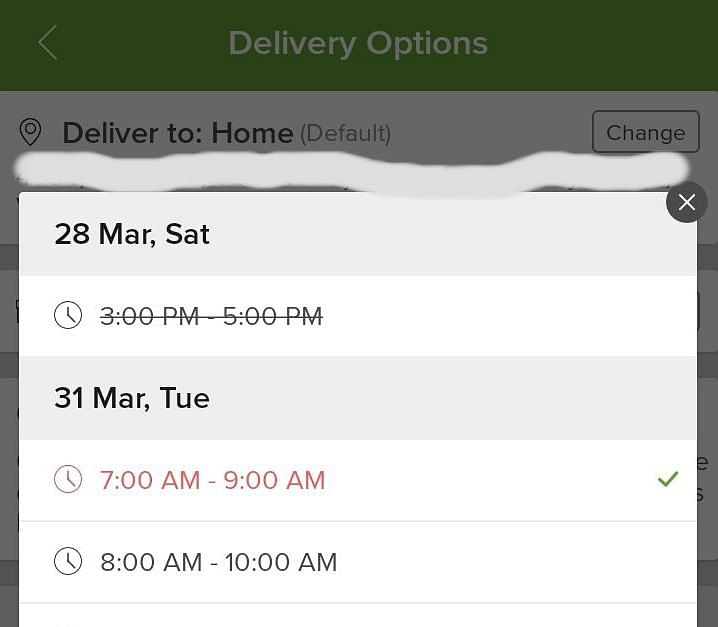The earliest delivery time for groceries ordered on 26 March was 31 March according to the Big Basket app.