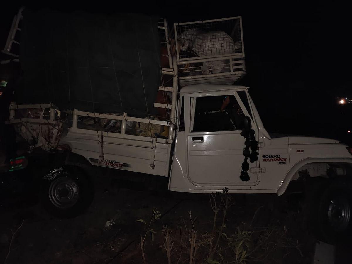 The van was hit by a truck near Pedda Golconda.