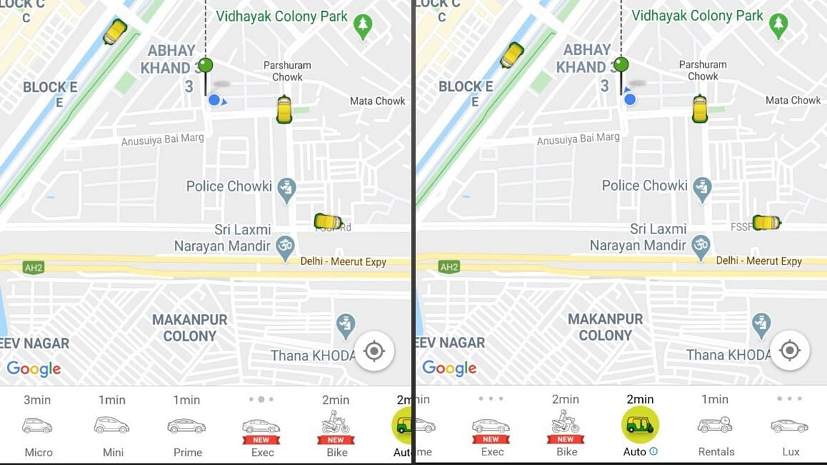 The Ola Share option is missing from the grid.