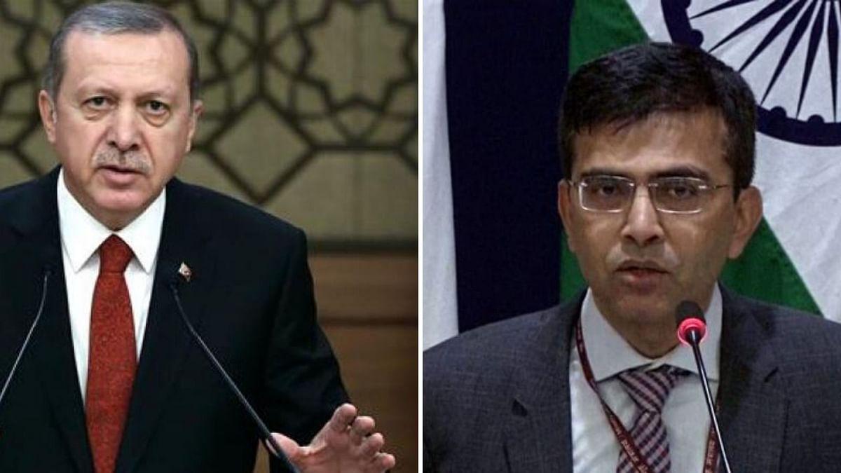 Turkish President Erdogan; MEA Spokesperson Raveesh Kumar.