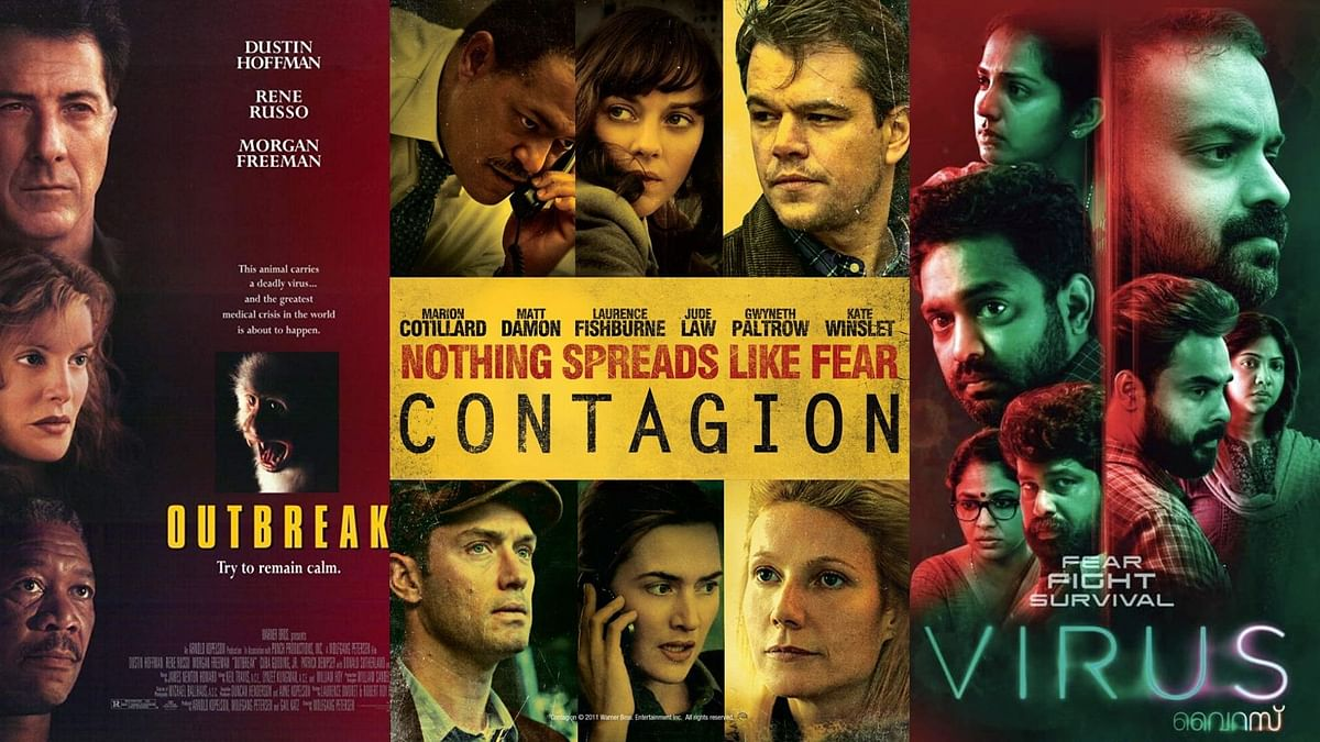 Posters of <i>Outbreak, Contagion </i>and <i>Virus.</i>