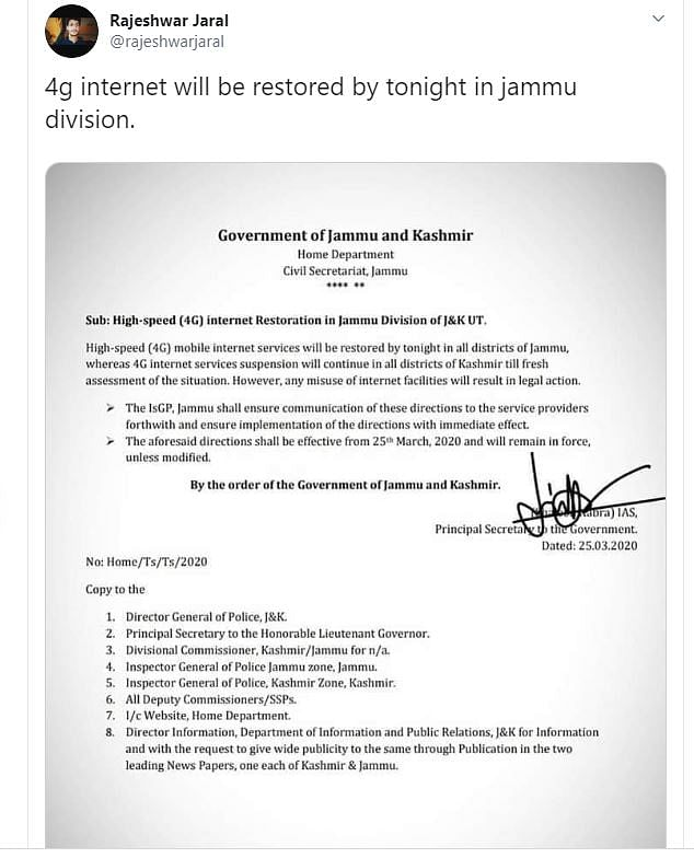 4G Internet Being Restored in Jammu? No, the Order Is Fake