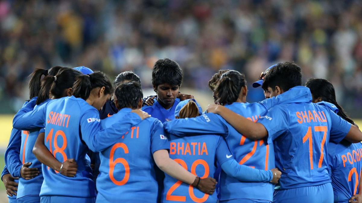 The Indian women's cricket team during the T20 World Cup final on 8 March against Australia.