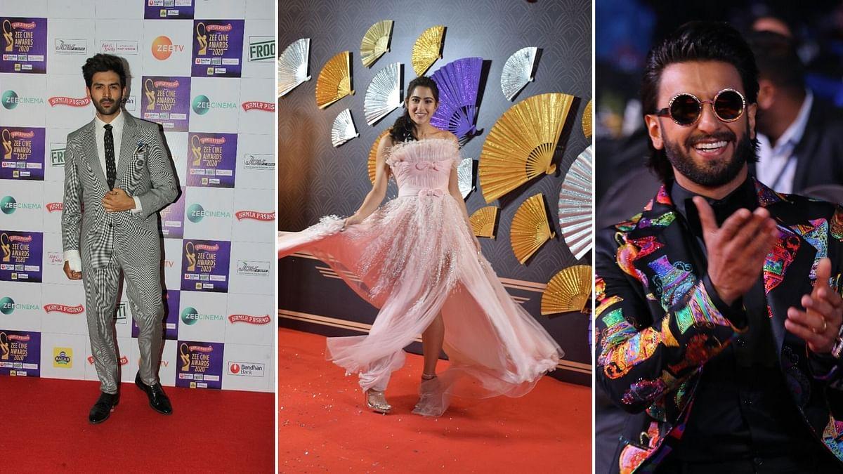 Pics: Sara, Kartik, Ranveer Dazzle at Zee Cine Awards Red Carpet