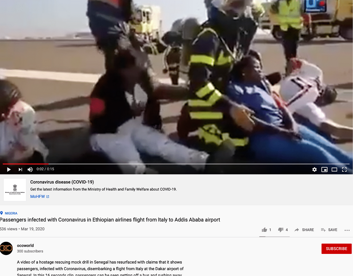 The description reads that the video is actually of a mock drill.