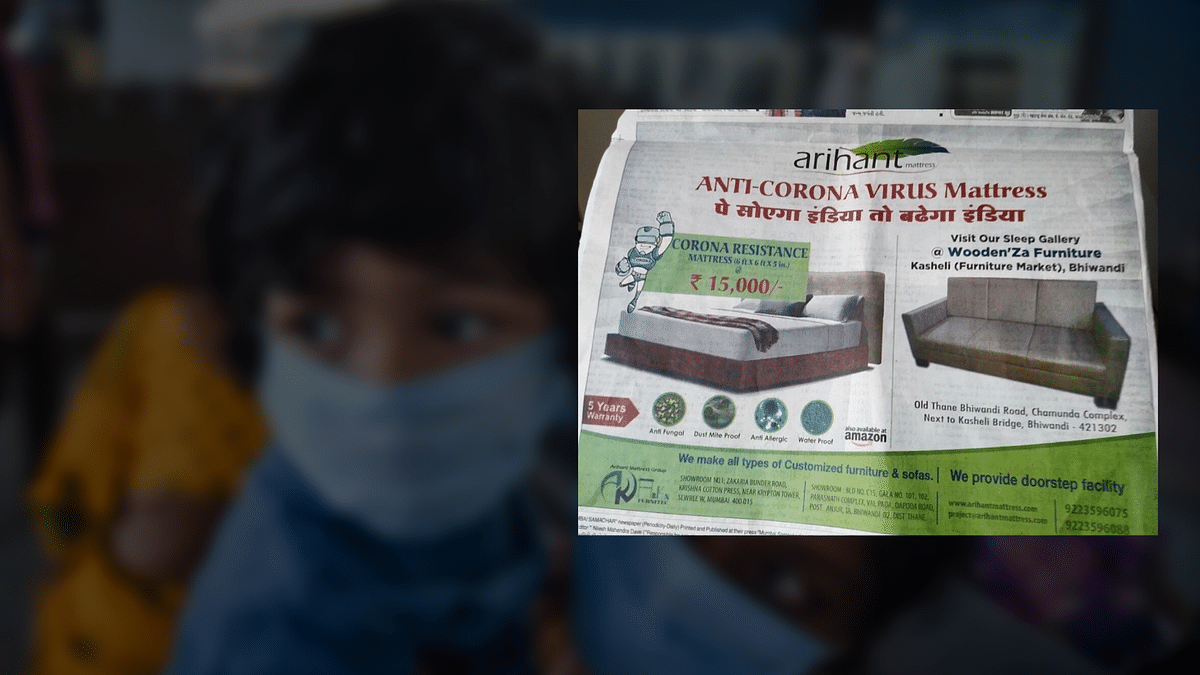 This is an advertisement  for a 'coronavirus-curing' mattress which was strongly condemned.