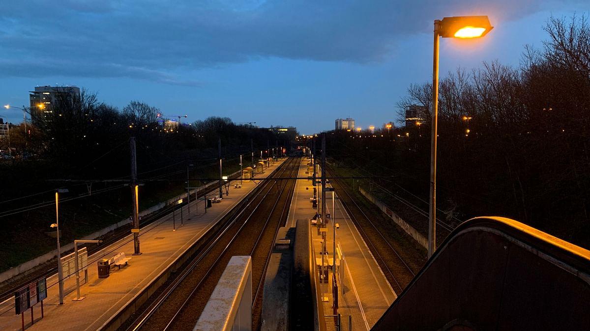 Empty train station in Belgium