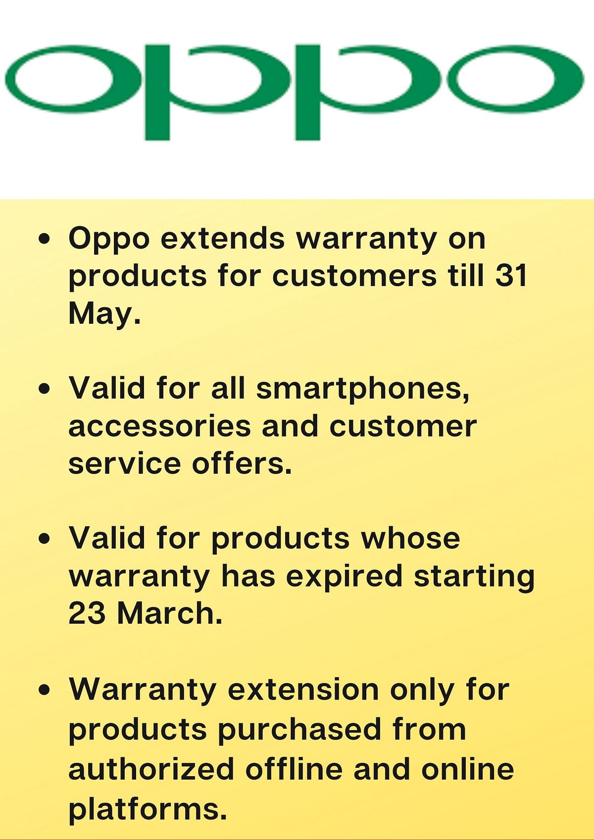 The extended warranty offer is across all Oppo products.
