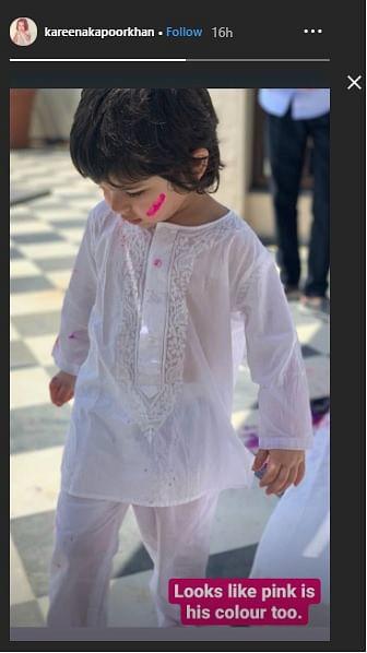 Taimur Ali Khan in a white kurta-pyjama.