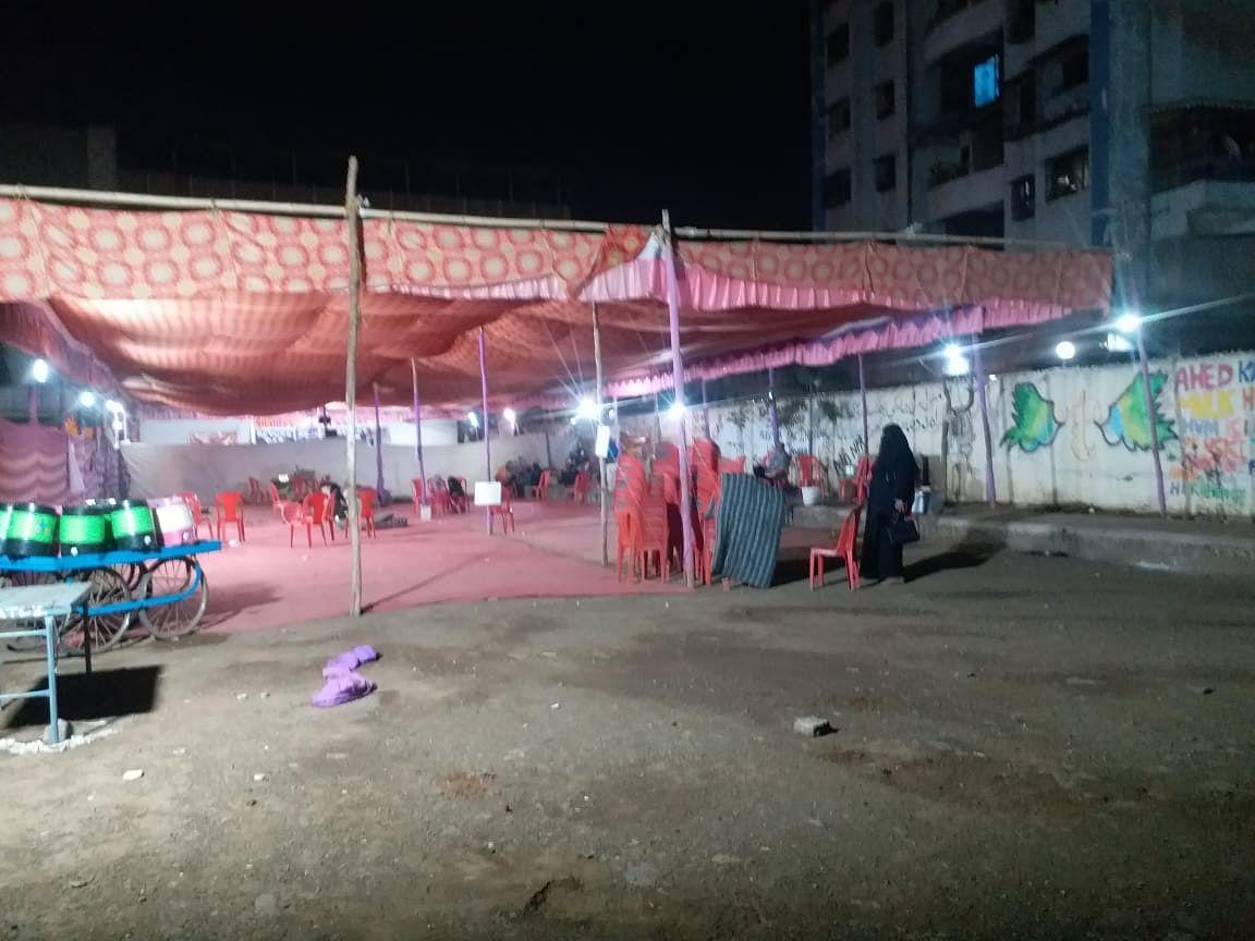 Empty protest site in Kalyan near Mumbai.