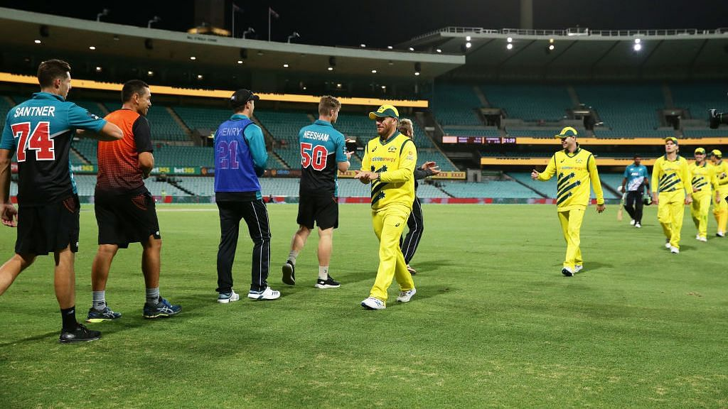 The first ODI between Australia and New Zealand took place without spectators at the Sydney Cricket Ground. The series was called off after the match.