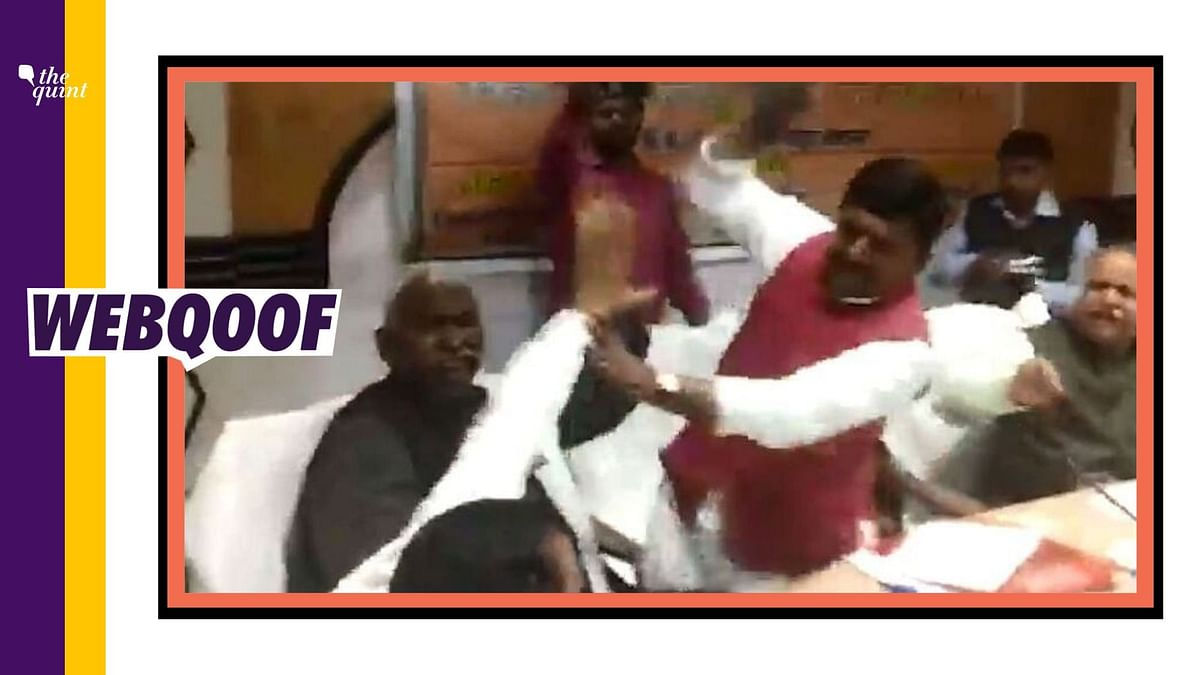 Fight between UP BJP lawmakers shared as AAP leaders quarreling.