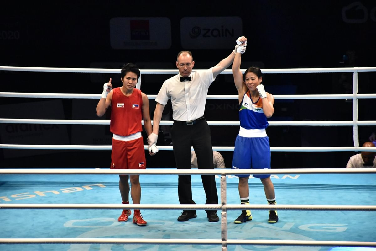 MC Mary Kom celebrates after qualifying for the 2020 Tokyo Olympics.