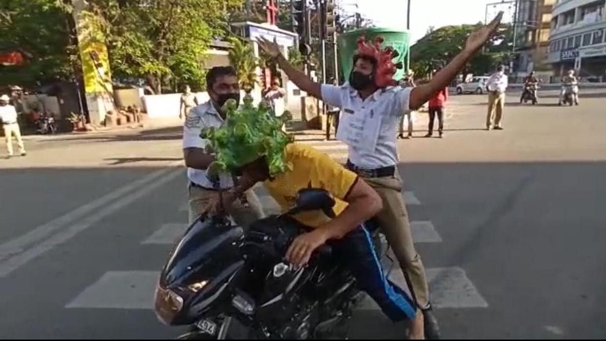 Conches to 'Corona' Helmets: How Bengaluru Cops Spread Awareness